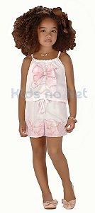 Macaquinho infantil feminino Infanti branco Laço -