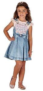 Salopete Infantil Menina Infanti Jeans Rosas -