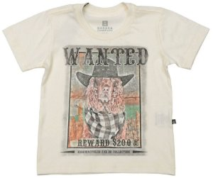 Camiseta infantil Banana Danger wanted dog amarelo claro