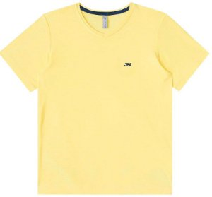Camiseta infantil Johnny Fox algodão lisa básica Gola V
