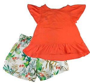Conjunto infantil Mundo céu Bata Laranja Shorts Folhas