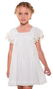 Vestido infantil Que te encante algodão Madrepérola Liso