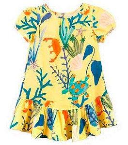 Vestido Infantil Menina Mundo céu Amarelo Fundo do Mar