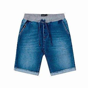 Bermuda Johnny Fox Moletinho infantil imita jeans cós cinza