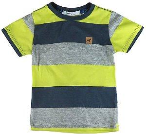 Camiseta Bebê Menino Oliver algodão listra tricolor -
