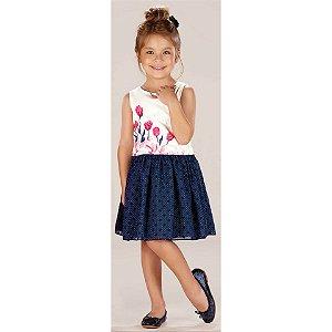 Conjunto infantil Infanti Vestido alça poá com blusa cropped