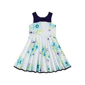 Vestido infantil Flores Azul marinho - Infanti