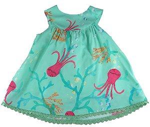 Vestido Bebê Menina Mundo céu  em viscose verde bebê polvo