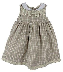 Vestido Bebê Menina Póssum algodão xadrez bege