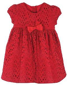 Vestido Bebê Menina Póssum algodão vermelho laise