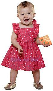 Vestido Bebê Menina Que te encante favo estrelas vermelho -