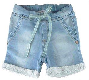 Bermuda de Bebê Menino Oliver moletom jeans claro bebê