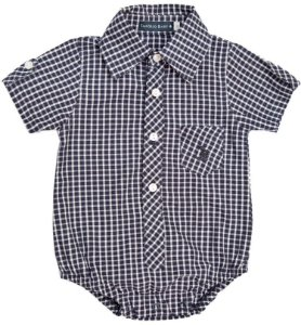Body Bebêpório Baby xadrez azul marinho com branco