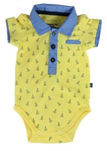 Body Bebê Menino Sleeping Pill amarelo tribos