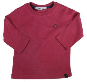 Camiseta Bebê Oliver meia malha manga longa mescla rosa