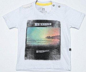 Camiseta Bebê Menino Banana Danger flame branca  Sunrise -
