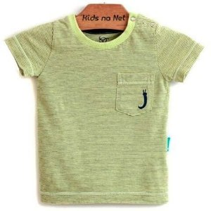 Camiseta Bebê Menino Jokenpô listras com bolso amarelo