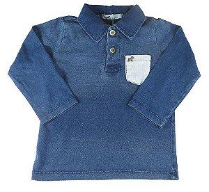 Camiseta Polo Bebê Oliver índigo Stone manga longa bolso