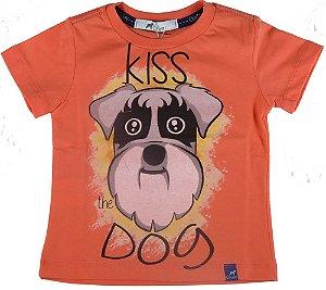 Camiseta Bebê Menino Oliver Kiss Dog