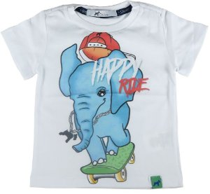Camiseta Bebê Menino Oliver elefante e skate