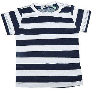 Camiseta Bebê Oliver malha branca listras marinho navy
