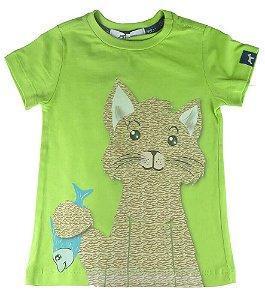 Camiseta Bebê Menino Oliver algodão Verde Gato