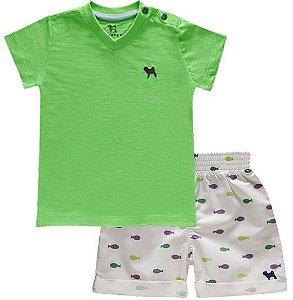 Conjunto Bebê Menino Charpey camiseta gola v shorts peixe