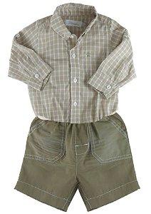 Conjunto Bebê Póssum - Body camisa, bermuda e cinto Bege