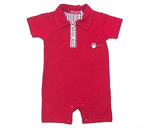 Macacão Bebê Menino Empório Baby polo curto vermelho