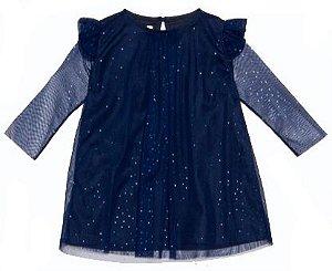 Vestido Bebê Menina Que te encante universo baby azul -