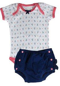 Body bebê menina Baby Fashion âncora  + tapa fralda