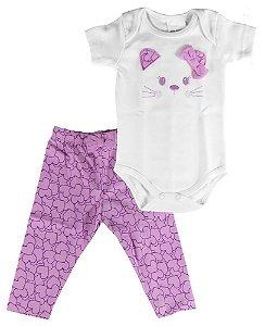 Conjunto bebe menina Baby Fashion body com calça gata