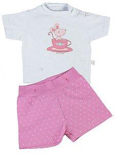 Pijama bebê menina Cara de Criança curto ratinho