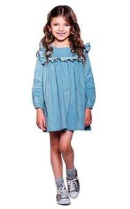 Vestido infantil Menina Que te encante de veludo azul Jardim