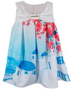 Vestido infantil Menina Ninali crepe ilha santorini grécia