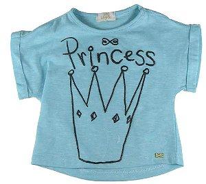 Blusa infantil feminina Luluzinha azul princesa
