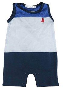 Macaquinho Bebê empório Baby bebê regata tricolor azul e branco