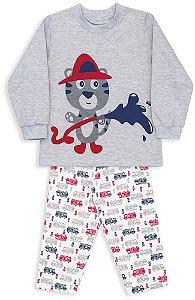 Pijama infantil Menino Dedeka flanelado moletinho Bombeiro
