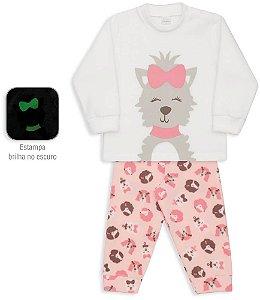 Pijama infantil Dedeka Soft Cachorrinha que Brilha no Escuro