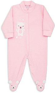 Macacão Bebê Menina Dedeka bebê soft rosa bebê urso