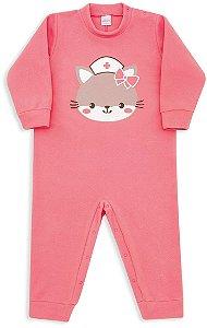 Macacão Pijama Infantil Dedeka Soft Coral Gatinha Enfermeira