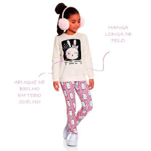 Conjunto infantil Ninali casaco + legging Coelhinha