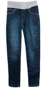 Calça infantil feminina Ninali moletom jeans cós cinza
