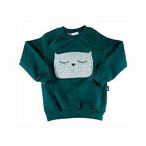 Blusa de Bebê Menino Oliver moletom bebê verde gatinho