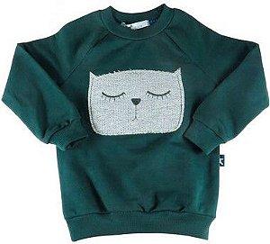 Blusa infantil Menino Oliver de moletom verde gatinho