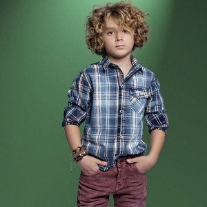 camisa infantil Oliver  xadrez azul marinho laranja