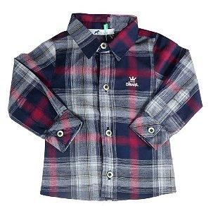 camisa infantil masculino Oliver xadrez cinza vermelho bordo