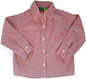 camisa infantil masculino Jardim Mágico xadrez vermelha