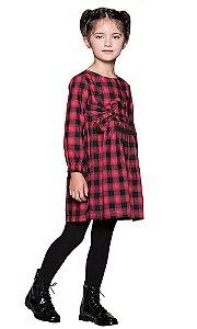 Vestido infantil  Que te encante xadrez vermelho malu