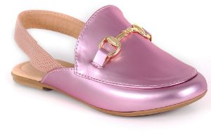 Sapato social infantil mocassim mule rosa
